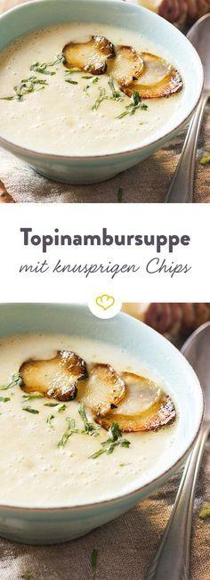 Eine besonders cremige Suppe, die dank Topinambur eine leicht nussige Note bekommt. Die Chips obendrauf sorgen für den nötigen Crunch.