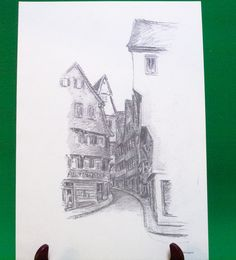 Just listed! 1977 Print Of Pen Sketch By Tübingen Artist Georg Salzmann, Munzgasse - $5.95