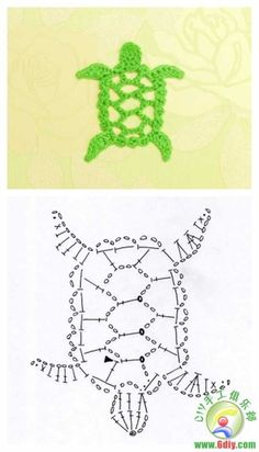 Crochet turtle elements Crochet turtle elements Learn the fact (generic term) of how to crochet, at Marque-pages Au Crochet, Crochet Fish, Crochet Motifs, Freeform Crochet, Crochet Diagram, Thread Crochet, Crochet Crafts, Crochet Doilies, Crochet Stitches