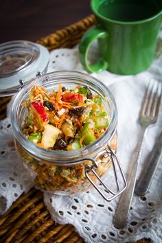 Fall detox salad (brussels, apples, carrots, raisins, simple lemon dressing with a touch of maple)