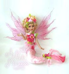 PINK LACE FAIRY MERMAID Porcelain Doll