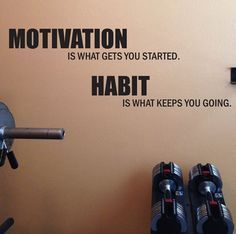 Motivation is what gets you started. Habit is what keeps you going. -Great for workout rooms, home gym rooms, treadmill rooms, locker rooms, etc! Easy Workouts, At Home Workouts, Yoga Workouts, Fitness Studio Training, Motivation Background, Fitness Motivation, Fitness Quotes, Motivation Quotes, Gym Interior