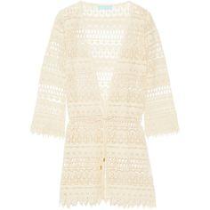 Melissa Odabash - Caroline Crochet-knit Coverup ($190) ❤ liked on Polyvore featuring swimwear, cover-ups, ecru, swim suit cover up, bathing suit cover ups, crochet bathing suit, swimsuit cover up and beach cover up