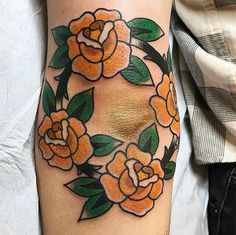 Rose band around my elbow. Done by Lisa @ Historic Tattoo Society (PortlandOR)