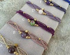 Macrame Bracelet Mod. Lourdes, friendship bracelet, brass bracelet, cord bracelet, nickel free, water resistant, free shipping