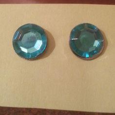 Aqua Rhinestone Post Earrings by FrankieBeanz on Etsy, $3.99