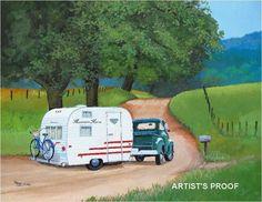 Vintage Winnebago Travel Trailer RV Classic 1954 Chevy Pick Up Truck Art Caravan Vintage, Vintage Rv, Vintage Caravans, Vintage Travel Trailers, Vintage Style, Vintage Homes, Vintage Postcards, Old Campers, Retro Campers