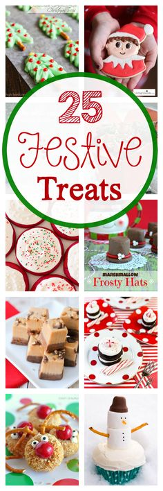 25 Festive Christmas Holiday Treats posted by Amber. I am going to give you a favorite Christmas cookie recipe AND 25 Festive Christmas treat ideas! I packed it all in tight today so let's get going. Mini Desserts, Holiday Desserts, Holiday Cookies, Holiday Baking, Holiday Treats, Holiday Recipes, Christmas Recipes, Christmas Deserts, Christmas Goodies