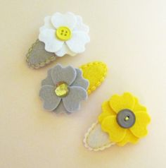 MY SUNSHINE. YELLOW. 3 Felt Hair Clips. Made With by ThePrettyOwl, $13.45
