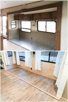 Ideas For Camping Trailer Remodel Rv Makeover Fifth Wheel Camper Flooring, 5th Wheel Camper, Fifth Wheel Campers, Rv Homes, Travel Trailer Remodel, Camper Hacks, Diy Camper, Camper Makeover, Camper Renovation