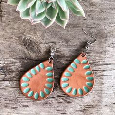 Items similar to Light Brown and Cactus Green Genuine Leather Earrings on Etsy