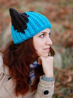 a2ba9dd4ead Blue Winter Hat with ears Knit Handmade animal Crochet adult Ladies beanie  cat lover gift idea Gift