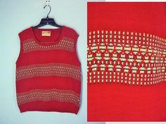 Vintage 70s Jantzen Men's Sweater Vest Red by ShirleyBoutique