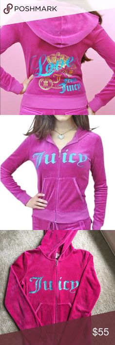 ~Hot Pink~ Juicy Couture Sweatsuit top Elle Woods worthy hot pink sweat suit top. Perfectly pops with the turquoise letters. Makes your shape look great, and is SO comfy. Only show of wear is on the sleeves, letters show no wear. One of my favorite colors and tops and it's sexy, but I don't wear it anymore! Juicy Couture Tops Sweatshirts & Hoodies