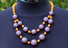 """""""Basket weave 2"""" necklace.  Polymer clay and glass beads"""