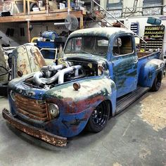 1949 Ford F1 built by @chucklesgarage! It has a 12-valve 5.9 Cummins with compound turbo's AND a Roots supercharged that ma - classicsdaily's photo on Instagram - Pixsta PC App