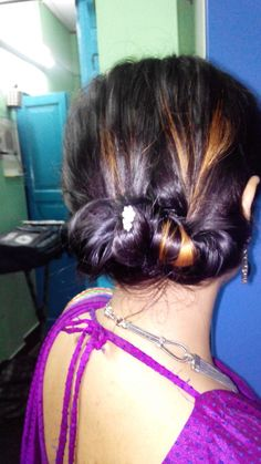 hair bun done by my siso on me traditional desi look
