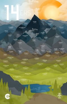 Colorado 14ers by DaydreamHunter on Etsy #print #poster #graphic #design #decor #art #14er #hike #hiking #climb #climbing #colorado #co #etsy