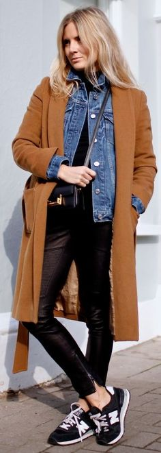 Camel coat + denim jacket.