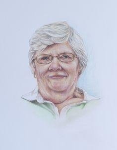 'Sandra' by Sharon Taylor. Coloured pencil portrait drawing on Bristol Board. Size 14 cm x 20 cm.