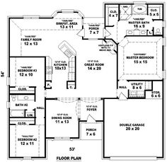 4 bedroom 3 bath floor plans google search - Bungalow Floor Plans
