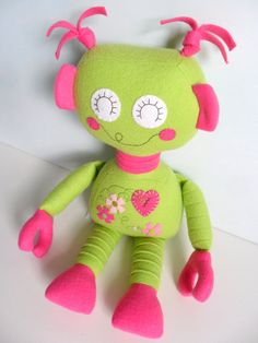 Kids  Baby & Toddler  Stuffed Toy  Rag Doll  Robot by 2dancingdogs, $58.00