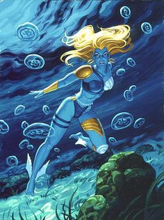 Namorita by Greg & Tim Hildebrandt for Marvel Masterpieces, in her human colours. Marvel Comic Character, Comic Book Characters, Marvel Characters, Comic Books Art, Comic Art, Marvel Dc, Marvel Comics Art, Marvel Heroes, Lady Sif