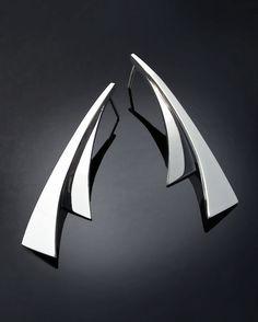 silver dangle earrings statement earrings by VerbenaPlaceJewelry