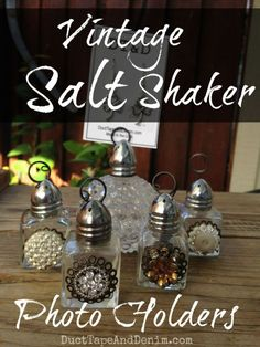 Vintage Salt Shaker Photo Holders DIY idea.  Can also be used as jewelry display.  | DuctTapeAndDenim.com