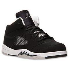 Boys' Toddler Air Jordan Retro 5 Basketball Shoes| FinishLine.com | Black/Cool Grey/White