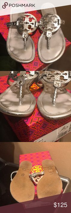 Tory Burch Sandals Metallic Glossy Snake Print. Minor scuffs in the front. Tory Burch Shoes Sandals
