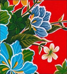 Hawaii Red Oilcloth Tablecloth with Blue Gingham Trim You Pick the Size