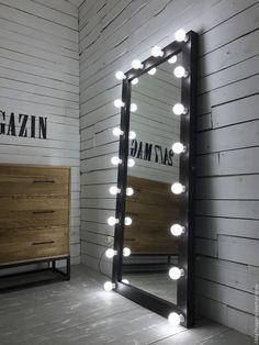 Купить Гримерное зеркало ESPRESSO - коричневый, зеркало, зеркало с лампами, зеркало с лампочками, зеркало с подсветкой