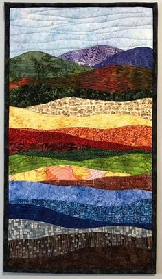 Art Quilts Abstract Colorful Landscape Landscape Quilt, Wall Quilt, Wall Hanging Art Quilts Abst Acrylic Landscape, Watercolor Landscape, Landscape Art Quilts, Landscape Design, Landscape Drawings, Landscape Paintings, Art Watercolor, Quilting Designs, Art Quilting