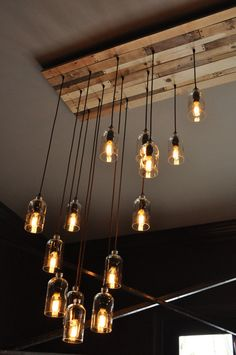 The New Yorker - 32 Light Recycled Bottle Custom Chandelier - Wood Slat Canopy - Modern Rusti. The New Yorker - 32 Light Recycled Bottle Custom Chandelier - Wood Slat Canopy - Modern Rustic Decor - Farmhouse Light - Vintage Style Bulbs, The New Yorker, Home Lighting, Lighting Design, Modern Lighting, Rustic Lighting, Vintage Lighting, Wine Bottle Chandelier, Modern Rustic Decor, Rustic Style
