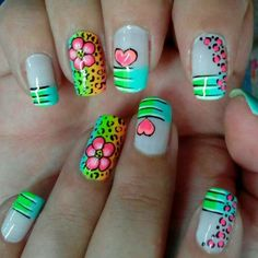 Amazing Acrylic Nails With Neon Animal Print, Flowers, & Hearts! French Nails, Love Nails, Fun Nails, Leopard Nails, Diy Nail Designs, Nagel Gel, Fabulous Nails, Nails Inspiration, Hair And Nails