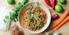 Carrot, cucumber & Rice Noodle Salad with Lime-Ginger Dressing...... so fresh & so good good!