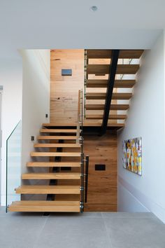Image 1 of 26 from gallery of Plumbers House / Finnis Architects. Photograph by Nic Granleese Staircase Design Modern, Spiral Stairs Design, Modern Stairs, Railing Design, Modern Design, Interior Stairs, Interior Architecture, Staircase Handrail, Latest House Designs