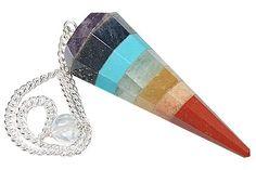 Pendant, pendulum or window/car decorative for chakra healing, composite of 7 stones.
