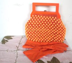 Vintage 1950's Purse // 50s Orange Beaded by TrueValueVintage, $75.00