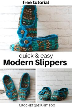 A free deliciously wonderful crochet slippers pattern that is even better than the slippers grandma made. Easy Crochet Slippers, Crochet Slipper Pattern, Crochet Socks, Knitted Slippers, Crochet Clothes, Knit Crochet, Chrochet, Free Crochet, Easy Crochet Stitches