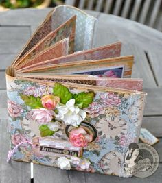 Beautiful recipe book made of paper bags. Tutorial. of photos & paper: Graphic 45 Afternoon Tea Recipe Book