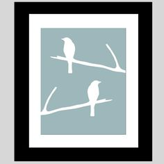 Birds on a Twig - Bird Silhouette Print - Bathroom, Bedroom, Nursery - Choose Your Colors - Shown in Cool Blue and White Bird Bedroom, Bird Nursery, Nursery Canvas, Bedroom Art, Feather Wall Art, Bird Wall Art, Canvas Artwork, Canvas Art Prints, Bird Stencil