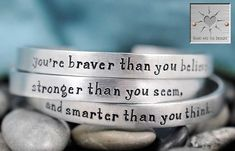 Hand Stamped Bracelets - Handstamped Jewelry - Set of Three - You're Braver Than You Believe - Personalized