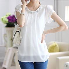 Blusa chiffon branca com forro, costura dupla e detalhes em pedraria - frete grátis