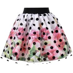 Love Made Love - Floral Skirt with Polka Dot Tulle (590 MYR) ❤ liked on Polyvore featuring skirts, bottoms, polka dots, knee length tulle skirt, flower print skirt, elastic waist skirt, polka dot skirt and floral printed skirt