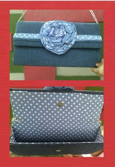 "Clutch Bag  ""Denim and polka"""