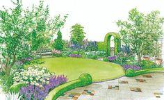 In unserer ersten Gestaltungsidee wird die Terrasse von einer Hecke eingefasst