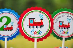 Choo Choo Train Cupcake toppers Choo Choo Train by thepaperkingdom