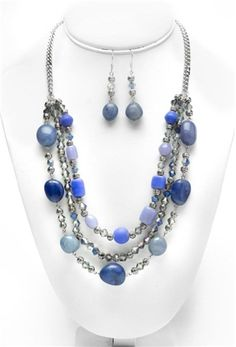 Denim Bling Necklace and Earrings | Beading Patterns | Jewelry Projects | Cousin Corporation